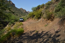 Millsite Canyon Trail - Waypoint 13: NARROW LEDGES (USE CAUTION)