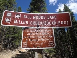 Bill Moore Lake - Waypoint 10: Bill Moore Lake Trailhead (183.1) and Miller Creek Dead End Trailhead  (171.2)