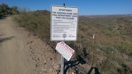 Little Pan Mine Road - Waypoint 6: AZ Fish Dept. Signs