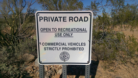Old Black Canyon Highway - Waypoint 13: Private Road and Camping to North