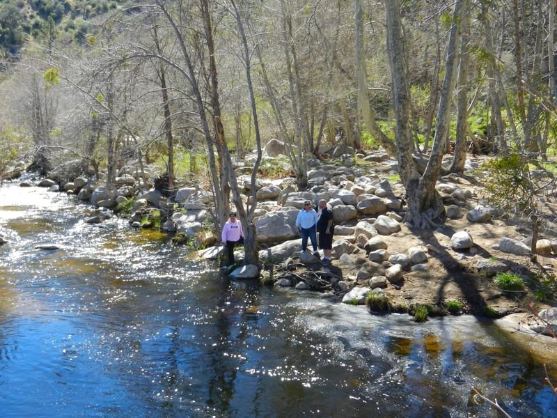 Ian crossing the river into Devil's Hole at Lake Arrowhead ...  |Devils Hole Arrowhead